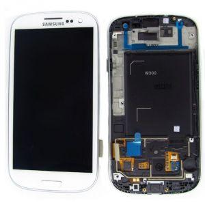 LCD (Дисплей) Samsung i9300 Galaxy S3 (в сборе с тачскрином) (в раме) (white) Оригинал
