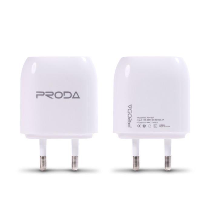 Сетевое зарядное устройство Proda RP-U21 2 USB (2,1 A) (white)