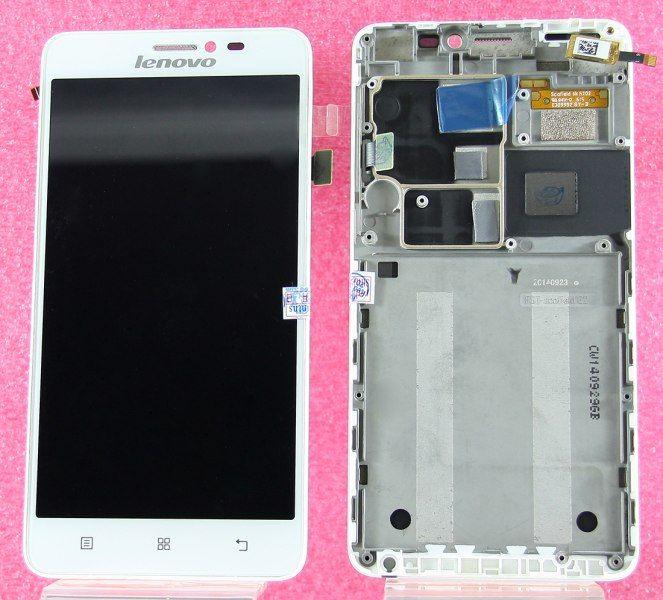 LCD (Дисплей) Lenovo S850 (в сборе с тачскрином) (white) (в раме) Оригинал