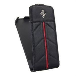 "Чехол-книжка Apple iPhone 5/5S (black-red, ""Ferrari"") Кожзам"
